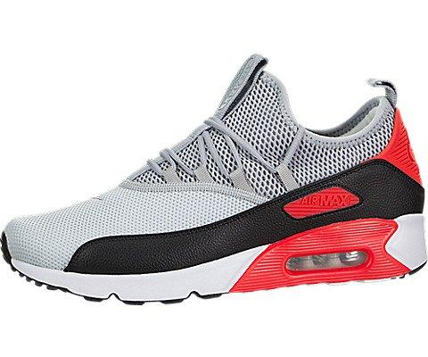 Nike Herren Air Max 90 EZ Hellgrau Textil/Synthetik Sneaker 42,  grau - schwarz - rot (Max Schwarz Air 90 Männer)