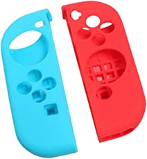 MagiDeal 1 Pair Silicone Protective Case Cover for Nintendo Switch Pro Game Console Blue+Red