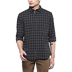 Indian Terrain Mens Checkered Regular Fit Cotton Casual Shirt (ITMSH00329_Black_XL)