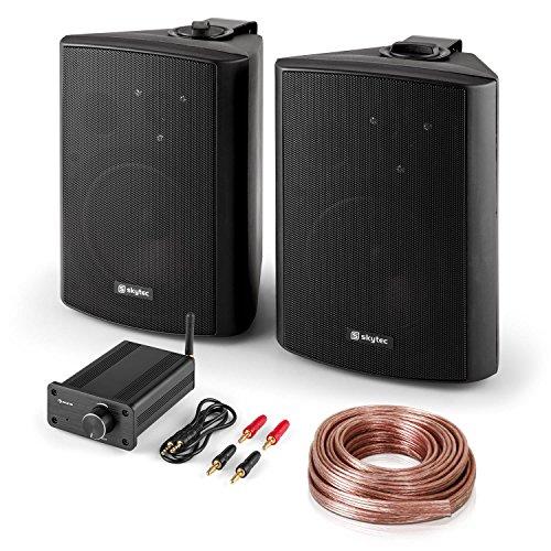"""Bluetooth Play BK • Hifi Set • 2-Wege Lautsprecher Paar • PA-Boxen mit 120 W Peak-Leistung • 2 x 16,5 cm (6,5"""")-Tieftöner • 2,5 cm (1"""")-Mylar-Kalotten-Hochtöner • Mini-Stereo-Verstärker mit 2 x 20 W RMS Leistung • Bluetooth • Bassreflex-Gehäuse • schwarz"""