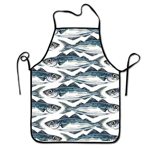 LarissaHi Grillschürze, Küchenchef, Profi zum Grillen, Backen, Kochen für Männer Frauen-Fisch-Welle -