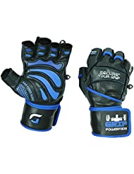 """Grip Power Pads Elite Leather Gym Gloves with Built-in 2"""" Wide Wrist Wraps - Leather Glove Design for Weight Lifting, Power Lifting, Bodybuilding & Strength Training Workout Exercises"""