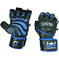 """Grip Power Pads® Elite Leather Gym Gloves with Built in 2"""" Wide Wrist Wraps Leather Glove Design for Weight Lifting, Power Lifting, Bodybuilding & Strength Training Workout Exercises"""