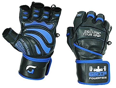 """Grip Power Pads Elite Leather Gym Gloves with Built-in 2"""" Wide Wrist Wraps - Leather Glove Design for Weight Lifting, Power Lifting, Bodybuilding & Strength Training Workout Exercises (X-Large)"""