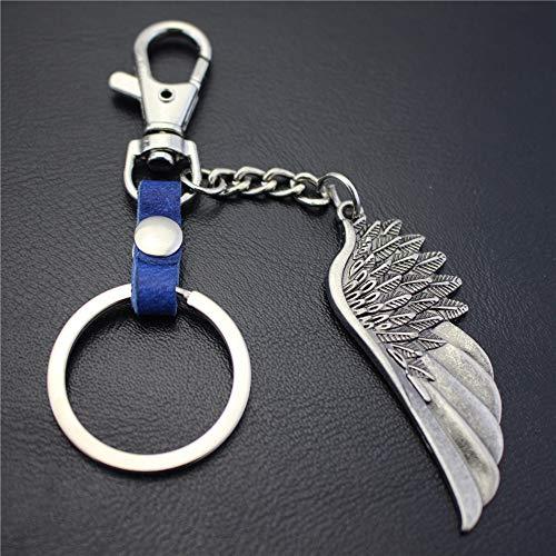 BRZM Silberner Engels-Flügel Keychain PU-Lederschlüsselring-Geldbeutel-Handtaschen-Anhänger