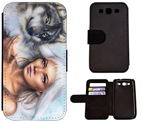Hülle Galaxy S3 Hülle Galaxy S3 Neo Schutzhülle Flip Cover Case Samsung Galaxy S3 / S3 Neo (1425 Wolf und Frau Animiert Abstract) Logo Samsung S3 Case
