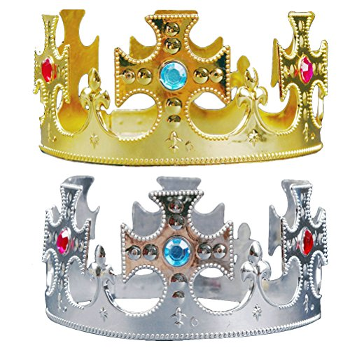 sparty Hüte Prinz Crown Hüte Kinder Tiara Party Favors Supplies Halloween Cosplay Kostüm Zubehör 2 STÜCKE (Kreuz) ()