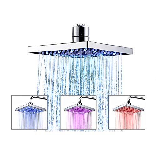 TANBURO Cabezal de Ducha LED de temperatura 3 cambio de color, 20 x 20 cm Ducha Lluvia Cuadrada, ABS cromado acabado,12 LED para Cuarto de baño, Acero inoxidable