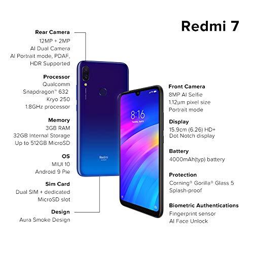 Redmi 7 (Comet Blue, 3GB RAM, 32GB Storage)