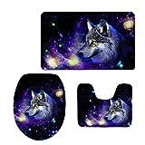RedBeans Cool Druck Space Wolf WC-Sitz Cover Dickem Flanell Nonslip Badezimmer Teppich