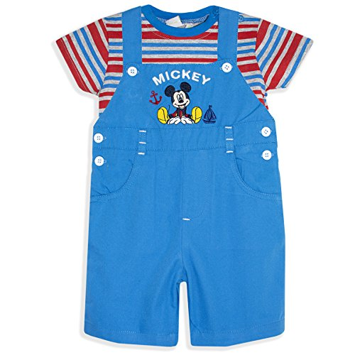 Disney Mickey Mouse Baby Boys Summer Outfit Set Dungarees + T-Shirt - New 2017 - Blue 6