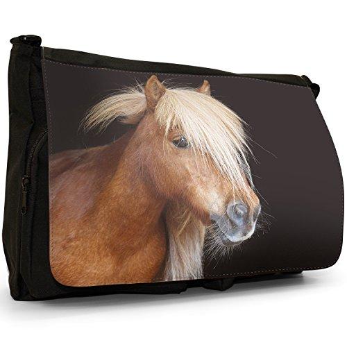 Pony e pony Shetland Grande borsa a tracolla Messenger Tela Nera, scuola/Borsa Per Laptop Brown Pony With Blonde Mane