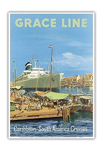 Pacifica Island Art - Karibik - Südamerika Kreuzfahrten - Willemstad Harbour, Curaçao - Grace Linie - Retro Kreuzfahrtschifffahrts Plakat von Carl G Evers c.1957 - Kunstdruck 33 x 48 cm