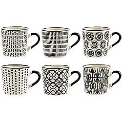 H&H H & H vhera Set de 6Tasses Café, grès, Blanc/Noir, 90ML