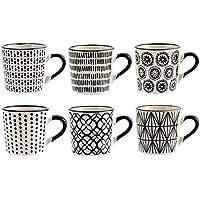 Desconocido H & H vhera Juego 6Tazas Café, Stoneware, Blanco/Negro, 90ML