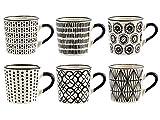 H&H Vhera Set 6 Tazzine Caffè, Stoneware, Bianco/Nero, 90 ml