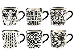 Idea Regalo - H&H Vhera Set 6 Tazzine Caffè, Stoneware, Bianco/Nero, 90 ml