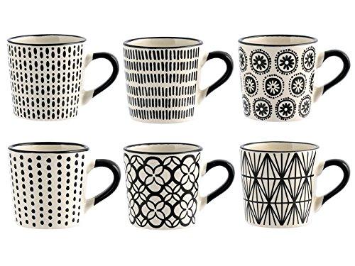 H&H H & H vhera Juego 6Tazas Café, Stoneware, Blanco/Negro, 90ml