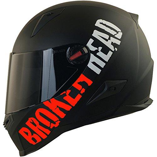 Broken Head BeProud Rot Ltd - Schlanker Motorradhelm Mit Schwarzem Zusatz-Visier - Matt-Schwarz - Größe S (55-56 cm)