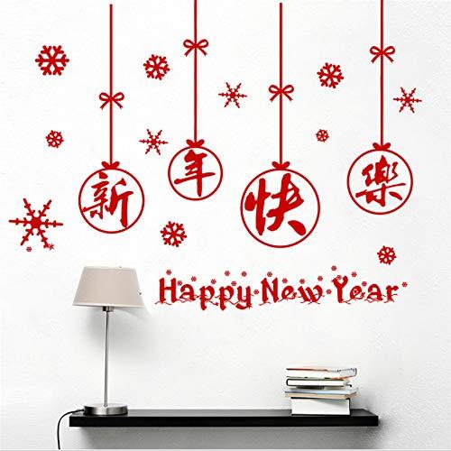 NOVELOVE Glückliches chinesisches neues Jahr Buchstaben Schneeflocke wandaufkleber für kinderzimmer wohnkultur 30 * 90 cm wandtattoos DIY Poster PVC wandbild Kunst