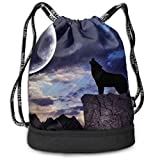 ewtretr Turnbeutel Hipster Sporttaschen Wolf in Galaxy Moon Night Draw String Backpack Bags Sack Pack Cinch Storage Bag for Traveling Hiking