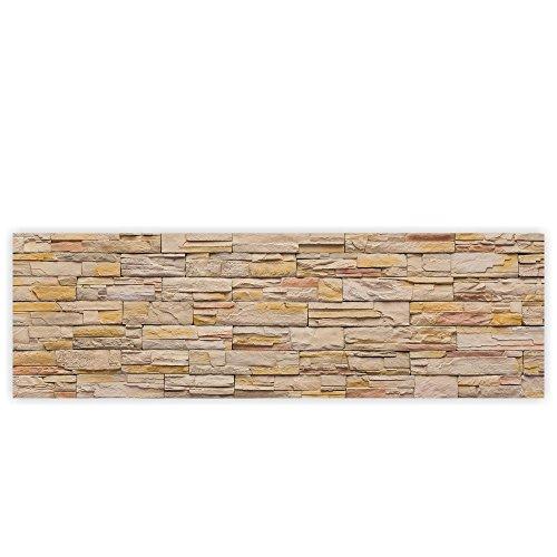 Leinwandbild 145x45 cm - Top - Wandbild XXL Kunstdruck Leinwand Bild Wanddeko Canvas - Steinwand Steine Wand - no. 169, Qualität Leinwand:Premium Plus