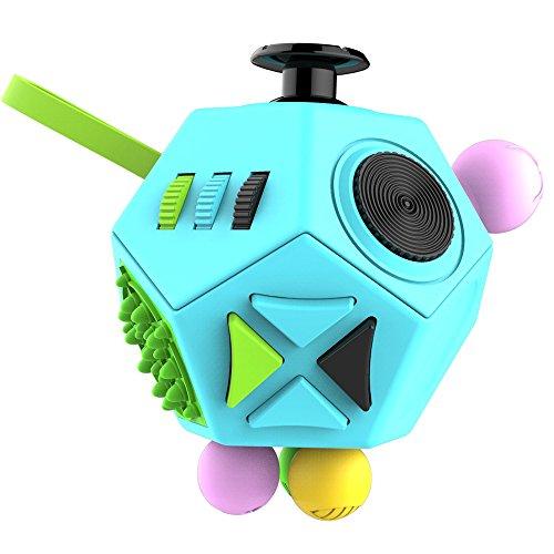 Fidget Cube Toys-12-Side Fidget Dodecagon Alivia el Estrés y la Ansiedad Anti Depresión Magic Cube Figet Toys Squeeze Fun Stress Reliever (azul)
