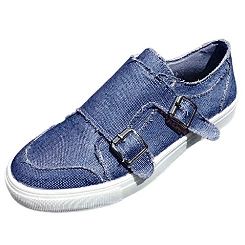 COZOCO Damen Erbsen Schuhe Sommer flach-Bottomed Casual Single Schuhe Reißverschluss Strand Schuhe Schnalle Strap Cover Ferse Schuhe(blau,39 EU)