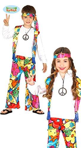 Generique Hippie-Kostüm mit Großen Blumen für Kinder 98/104 (3-4 Jahre)