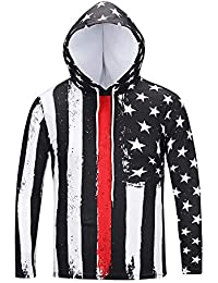 BUSIM Men's Long Sleeve Sweater Autumn Winter Flag Print Casual Slim Hooded Pullover Sweatshirt Jacket Jacket...