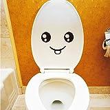 Pegatinas para tapa de inodoro, sin pegamento, diseño de cara sonriente, para el asiento del inodoro, para decorar el baño o el coche