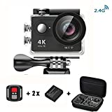 Daping Action Cam 4K Action kamera Sport Wasserdicht Unterwasserkamera 12MP 170° Weitwinkel Action Camera Sports 1080P Full HD Helmkamera mit 2.4G Remote 2 Batterien und Zubehör Kits Schwarz