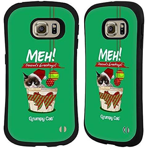 Ufficiale Grumpy Cat Saluti Natalizi Natale Case Ibrida per Samsung Galaxy S6 edge - Saluto Edge Design