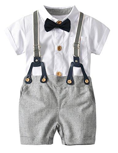 Baby Hemdbody mit Fliege + Kurze Hose mit Träger Junge Bekleidungsset Kleinkinder Gentleman Anzug Baumwolle Set Babyanzug Weiß