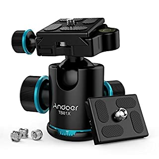 Andoer Camera Tripod Ball Head Ballhead with Quick Release Plate 1/4 Max. Load 8KG/17.64Lbs (Style3)