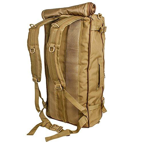 60L Multifunktionswasserdicht Militärische Taktische Molle Angriffs Rucksack Sport Rucksack Reisetasche Taschen Wochenend-Reisetasche Duffle Handgepäck C-Tan