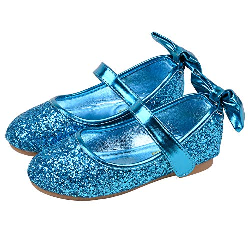 FStory&Winyee Mädchen Schuhe Ballerina Prinzessin Kinder Ballet Schuhe Partei Glitzer Tanz Schuhe Schleife Pailletten Blau Gold Silber Sandalen Cosplay Kostüm Tanzball Aufführung Fasching 24-35 3-11 J