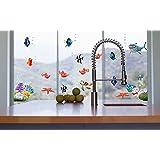 Jaamso Royals ' Under Sea Shark Fish 3D Cartoon' Wall Sticker (PVC Vinyl, 60 Cm X 45 Cm, Kids Room Stickers)