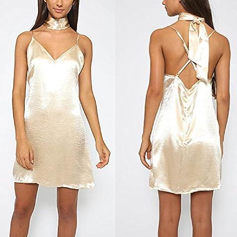 XJoel atractivo de las mujeres con cuello en V profundo del tirante de espagueti del patinador corto Mini vestido de oro