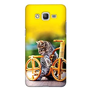 CrazyInk Premium 3D Back Cover for Samsung Grand Prime - Cat With Cycle