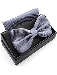 Massi Morino Papillon con fazzoletto in confezione regalo, papillon - set in diversi colori in microfibra, fiocco regolabile con fazzoletto coordinato (Grigio)