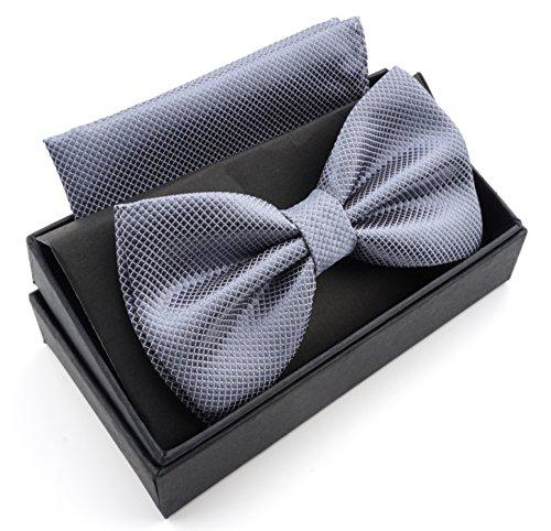 Massi Morino Fliege mit Einstecktuch inkl. Geschenkbox, verstellbare Designer Schleife in verschiedenen Farben (Grau) (Herren Farbe Grau, Anzug)