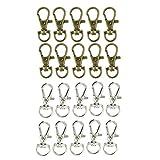 Baoblaze 20er Pack Retro Karabinerhaken Drehgelenk Swivel Karabiner Mini Haken für Hundehalsband Paracord Gurtband Schlüsselanhänger