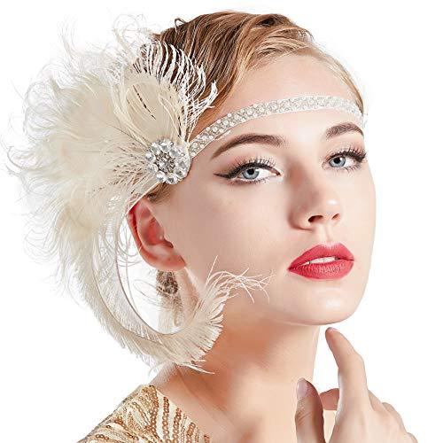 Satin Kostüm Vintage - ArtiDeco Damen 1920s Stirnband Pfau Feder 20er Jahre Stil Flapper Haarband Inspiriert von Great Gatsby Damen Kostüm Accessoires (Beige)