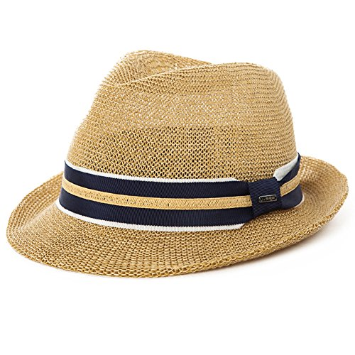 SIGGI Herren Sonnenhut Strohhut Panama Fedora Tribly Hut Kurze Krempe beige