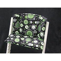 Babys-Dreams–Asiento Cojín Asiento Cojín Set para stokke Tripp trapp Trona * Negro Verde círculos * para cojín 2piezas