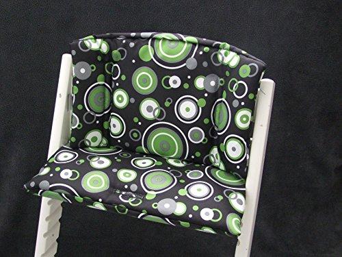 Imagen para Babys-Dreams–Asiento Cojín Asiento Cojín Set para stokke Tripp trapp Trona * Negro Verde círculos * para cojín 2piezas