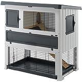 Ferplast 57087900 Kaninchenstall GRAND LODGE 140 PLUS, Maße: 134 x 73 x H 117 cm, grau
