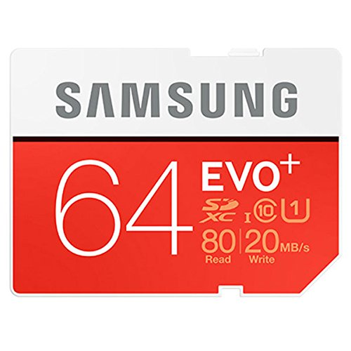 Samsung EVO+ 64GB Class 10 UHS-1 SDXC Memory Card, Up to 80MB/s Read, Up to 20MB/s Write Speed