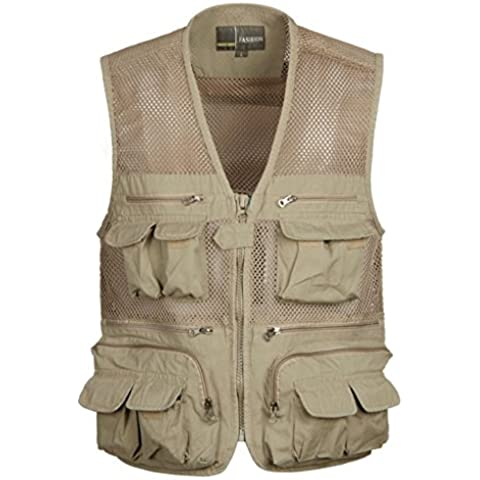 Hombre Multi bolsillo de malla con cremallera chaleco caza pesca con mosca chaqueta al aire libre director de fotos de viaje secado rápido chaleco caqui/Ejército Verde L-XXXXL, Large,